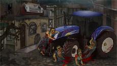 На тракторе по зомби